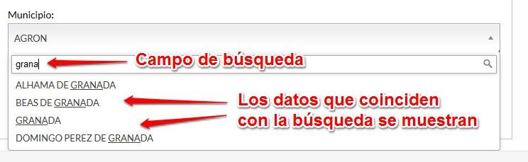 Ejemplo de búsqueda utilizando la cadena de texto 'grana'